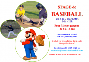 Affiche Stage baseball hiver 2014
