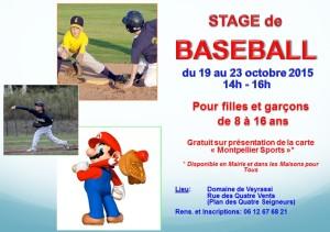affiche Stage baseball octobre 2015