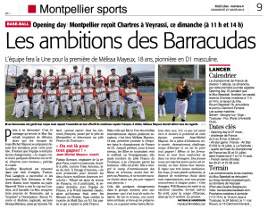 Article Midilibre baseball 27:03:2016