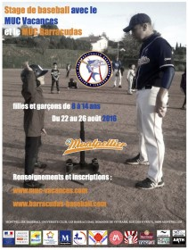 Flyer stage baseball Montpellier été 2016