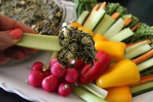 spinach artichoke dip close up