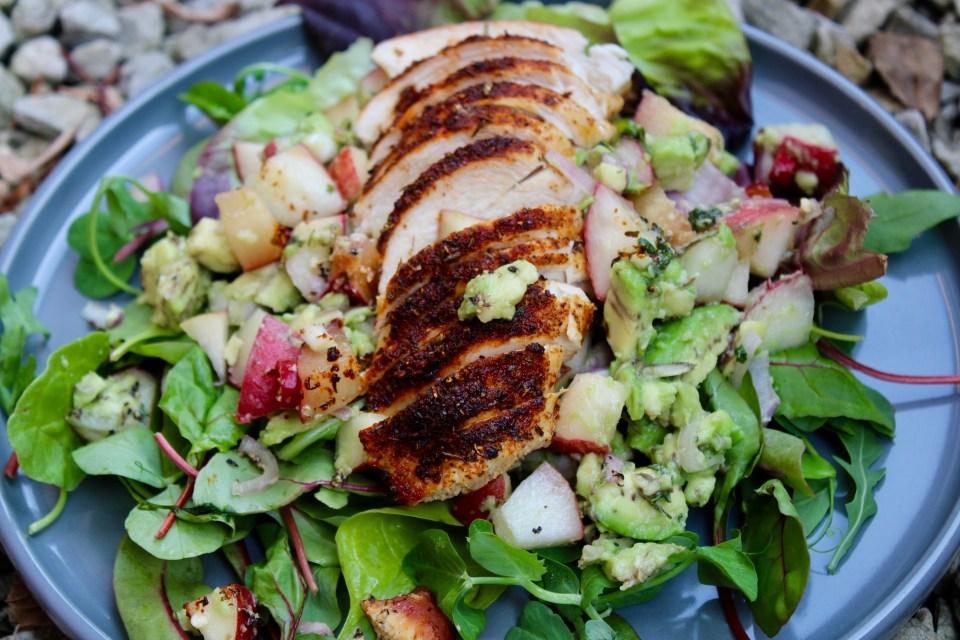 Balance is not key - Whole30 Stone Fruit and Blackened Chicken Salad