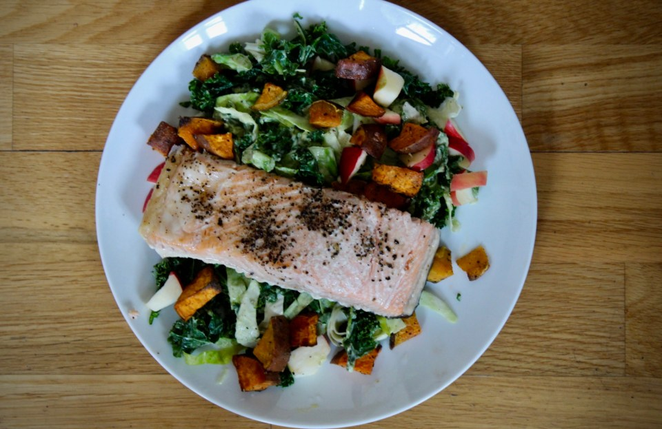 If/Then Planning - Whole30 Fall Salmon Salad with Avocado Poppy Seed Dressing