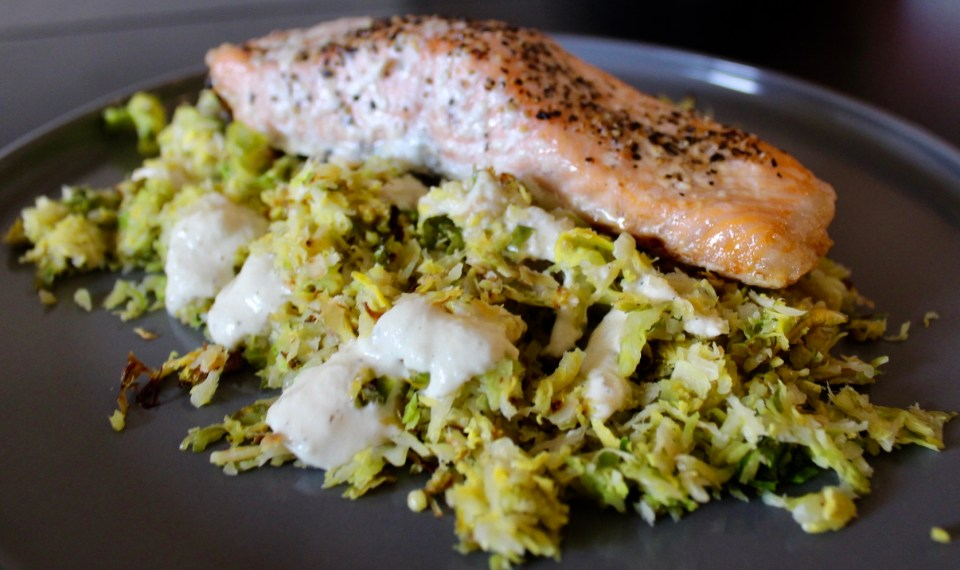 19 for 2019 - Whole30 Salmon and Brussel Sprout Salad with Lemon Cashew Dressing
