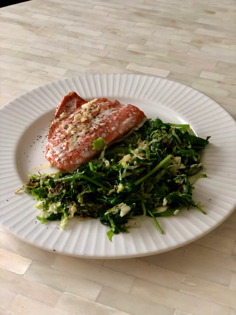 What we absorb - Salmon with Sautéed Super Greens