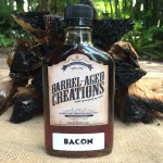bacon barrel aged maple syrup, 200ml flask, bourbon bacon maple, maple bacon, bacon maple, bacon bourbon, smoky, smoked maple, barrel aged creations, gourmet maple syrup, bacon syrup, bourbon syrup, barrel maple syrup, grade a maple syrup, dark amber, bacon lover, bacon food, gourmet food, vegan, paleo, bacon gifts, bacon lover gift ideas, finishing sauce, bacon sauce, smoky sauce, smoky glaze, bacon glaze, bacon finish
