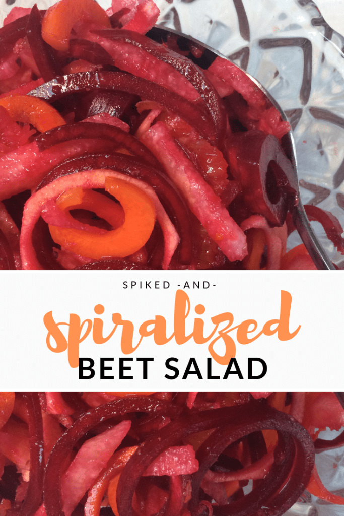 spiked and spiralized beet salad, beet recipe, carrot beet, recipes for spiralizer, spiralizer recipes, maple recipes, using maple syrup to cook, cooking with maple syrup, maple syrup recipes, barrel aged cerations