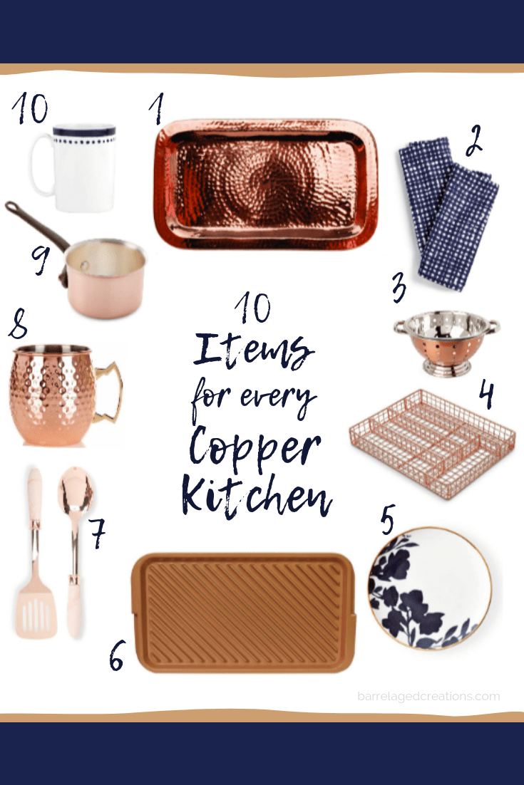 copper, navy, kitchen, decor, home decor, kitchen decor, cooking, cookware, serving tray, hammered copper, towels, kate spade, barrel aged creations, ralph lauren, copper kitchen, kitchen inspo