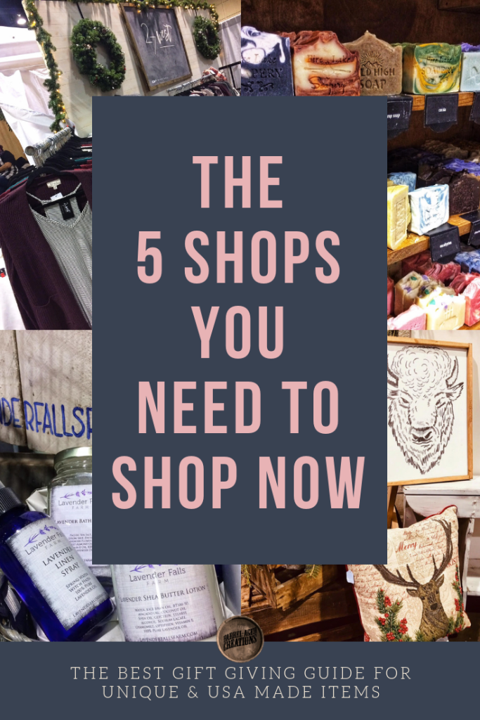 the five shops you need to shop now, gift guide, usa made, made in the usa, unique, gifts, women owned businesses, barrel aged creations, gifts for her, shop 27 west, fire lake soapery, wasted time co, lavender falls farm, grown wild foods, soap, home decor, body products, personal care, home goods, wall art, fashion, clothing, women, gourmet, food, gifts for women