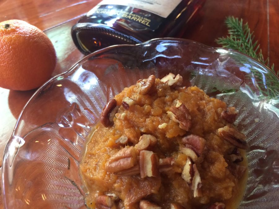 savory sweet potaotes, recipe, barrel aged creations, bacon, pecans, bourbon maple syrup, bourbon syrup, bourbon maple, barrel aged, cooking with maple syrup, how to use bourbon maple syrup, recipes for maple syrup, sweet potato casserole, candied yams
