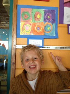 His 1st art exhibit at a local community center!  (one of his many talents)