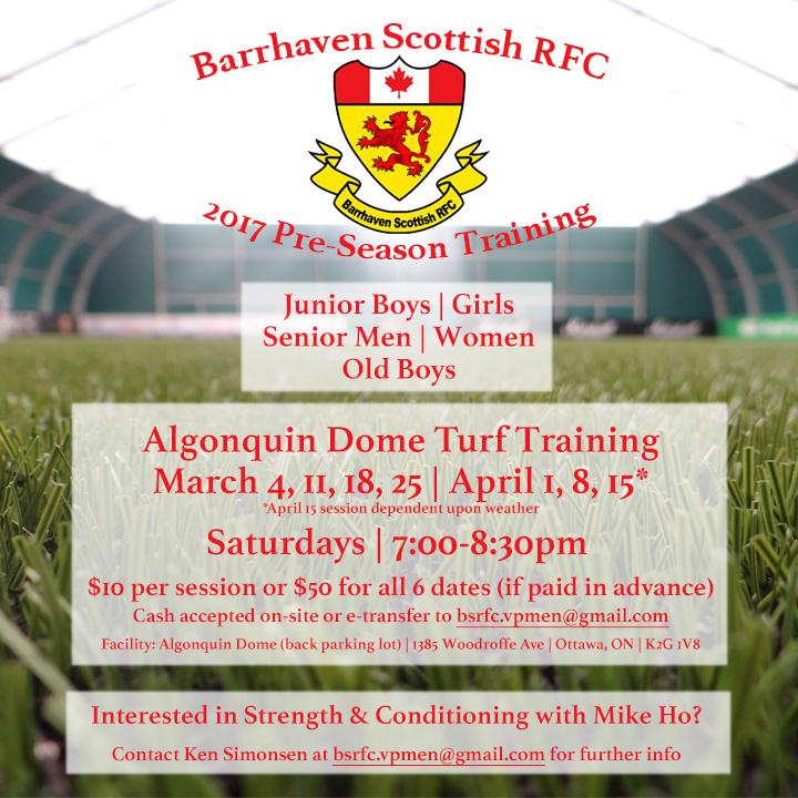 Ottawa's Barrhaven Scottish Rugby Football Club Indoor Training Schedule 2017