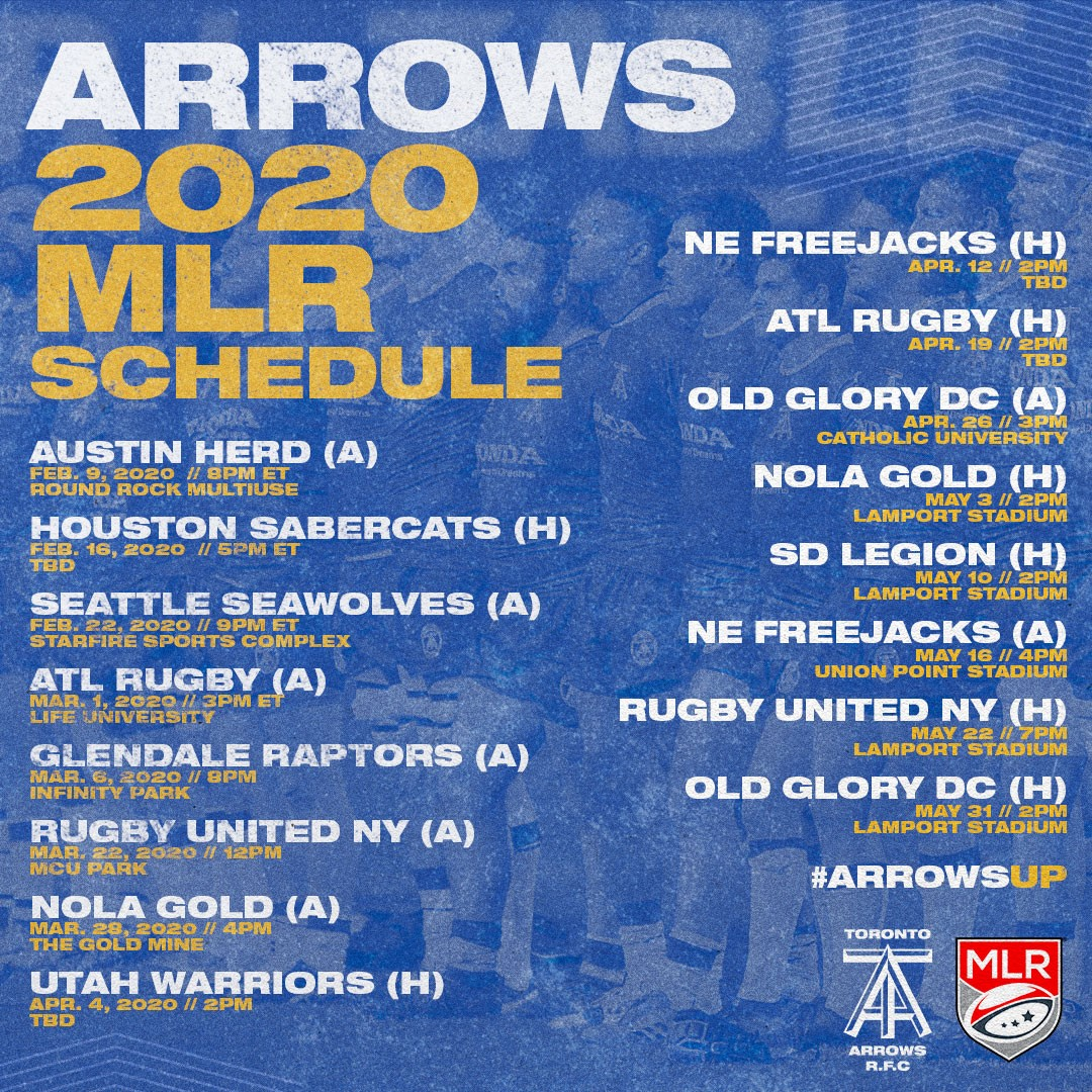Toronto Arrows Schedule