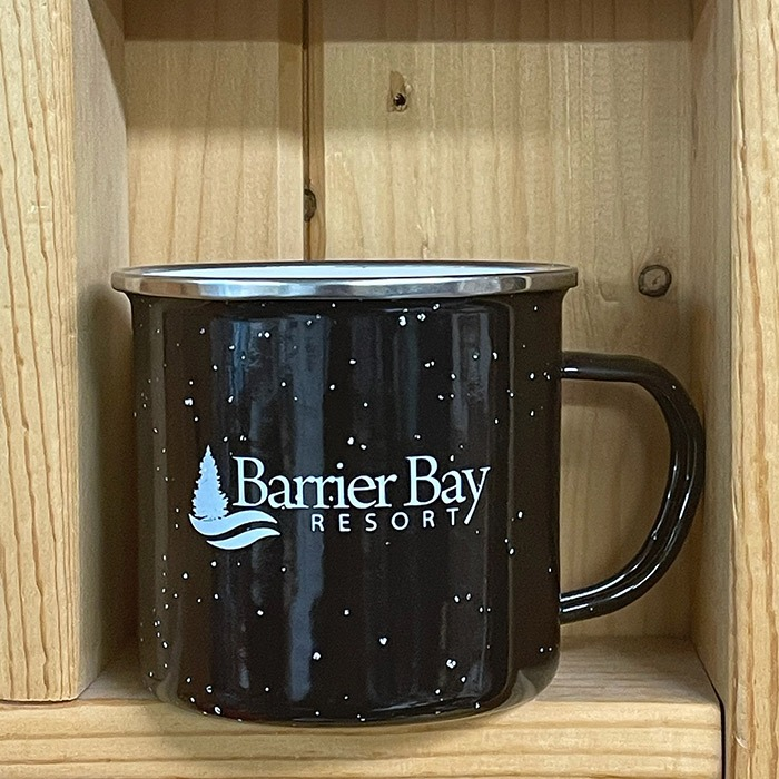 Barrier Bay Resort Black Camping Mug