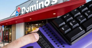Image. In the upper left corner a photo of a Domino's Pizza Restaurant. In the bottom right corner a photo of fingers on a Braille keyboard.