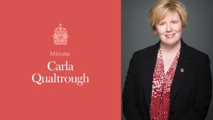 Press Release Card for The Honourable Carla Qualtrough, Prime Minister of Canada and Minister of Employment, Workforce Development and Disability Inclusion.