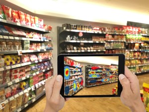 Smart retail. Futuristic concept. Tablet uses augmented reality to show inventory as an eye-tracking heat map.