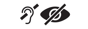 Deaf symbol, ear with a line through it, and blind symbol, eye with a line through it, sit side by side.