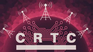 Canadian Radio-Television and Telecommunications Commission logo laid over an illustration of the earth, a circuit board and 5 wireless towers.