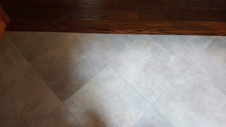 Porcelain tile flooring installation