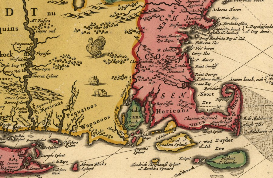 Historical Maps of Barrington   Barrington Preservation Society 1685   Map of New Netherland and New England  and also parts of Virginia    by Nicholas Visscher