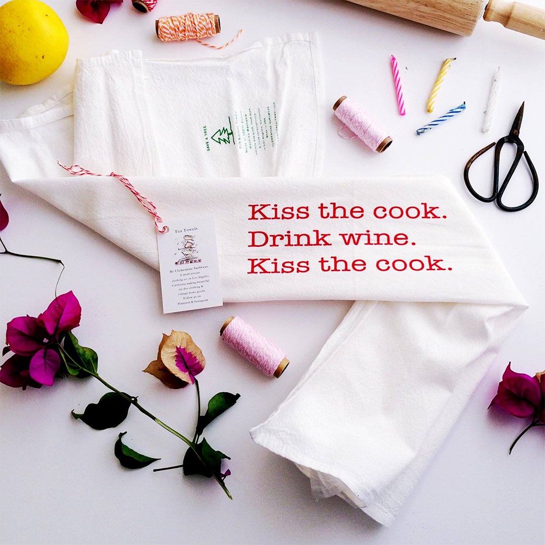Kiss the Cook kitchen towel from Clementine Surfwear