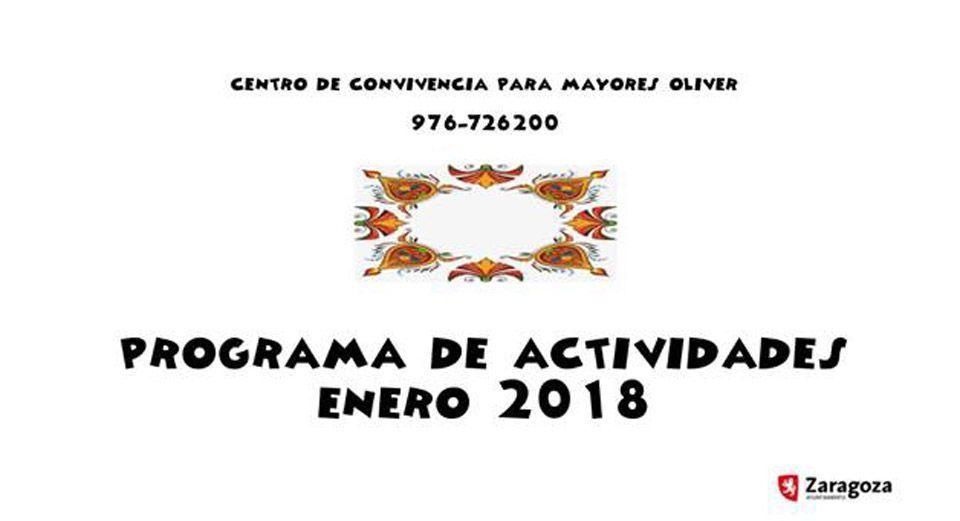 Centro de Mayores Oliver: Programación Enero 2018