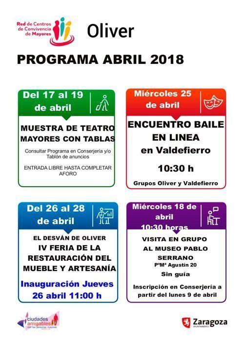 Actividades Centro de Mayores Oliver Abril 2018
