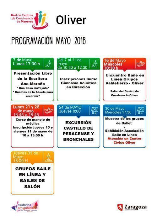 Centro de Convivencia de Mayores Oliver Programación de Mayo 2018
