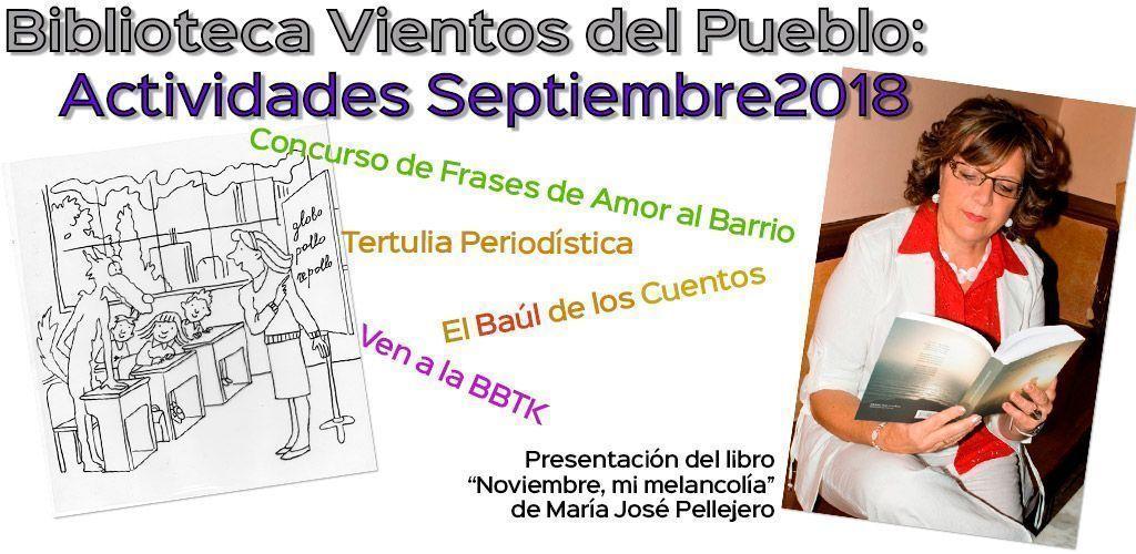 Biblioteca Vientos del Pueblo: Actividades septiembre 2018