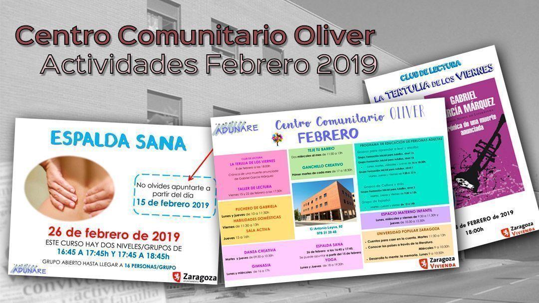 Centro Comunitario Oliver: Actividades febrero 2019