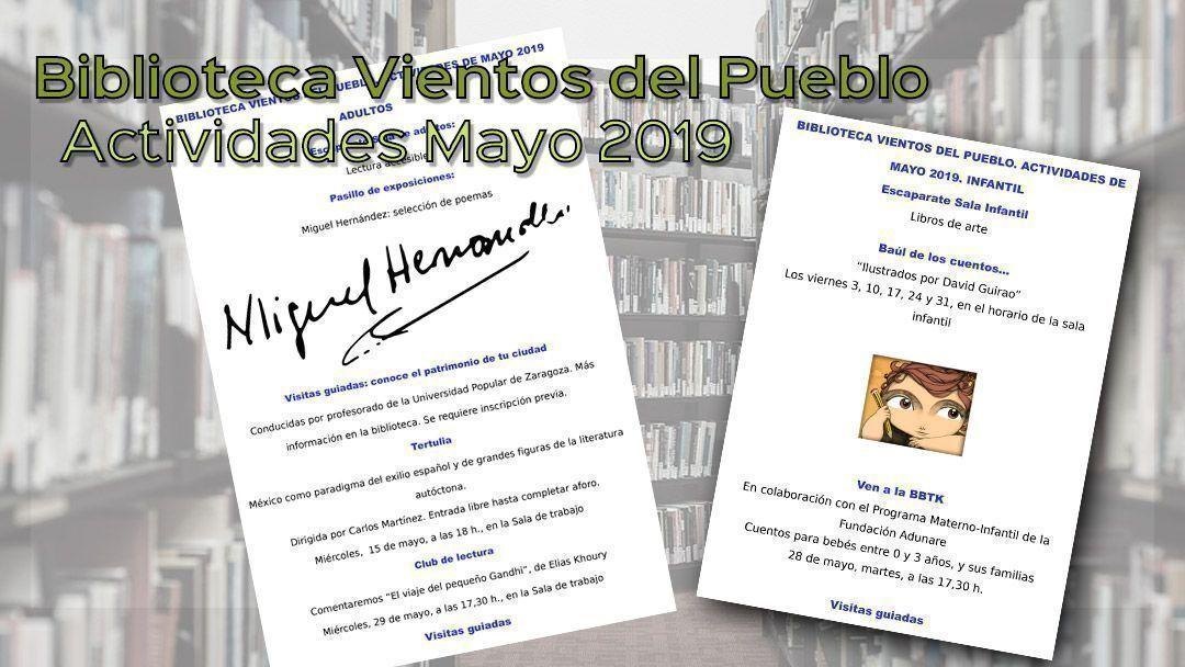 Biblioteca Vientos del Pueblo. Actividades mayo 2019
