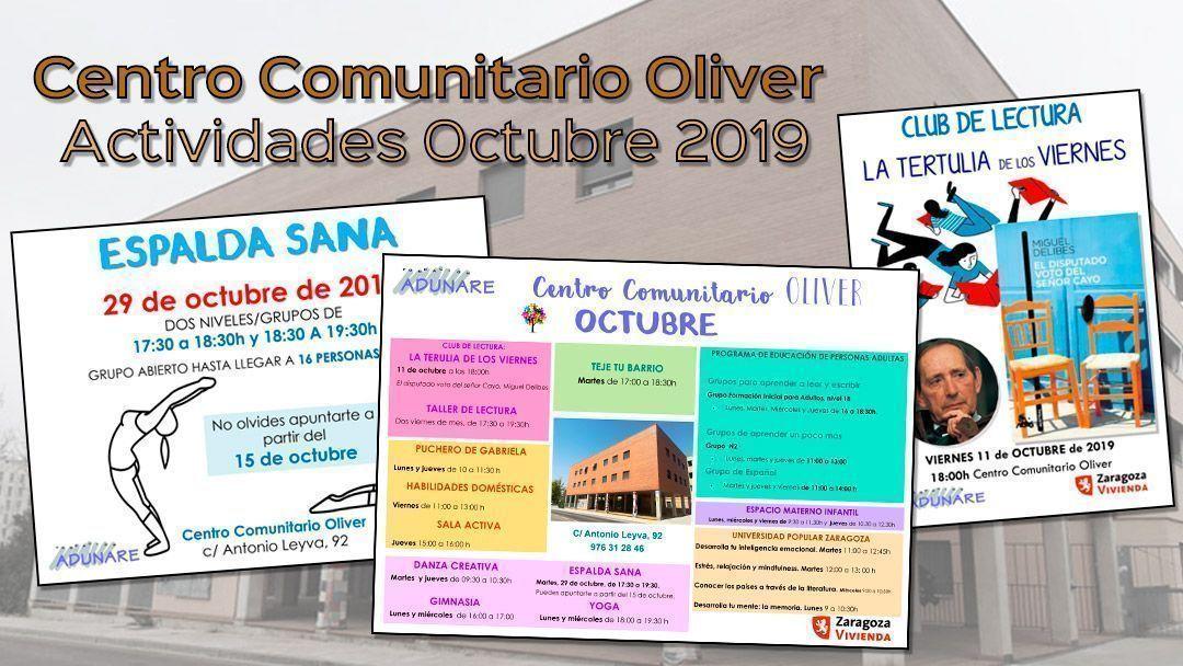 Centro Comunitario Oliver: Actividades octubre 2019