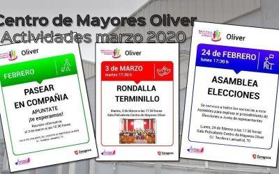 Centro de Mayores: actividades programadas para marzo 2020
