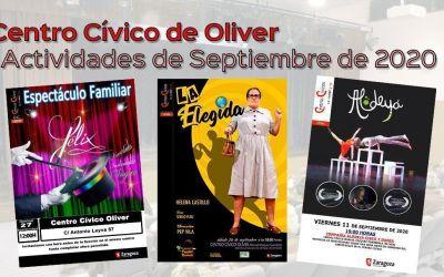 Centro Cívico Oliver: Actividades de septiembre 2020