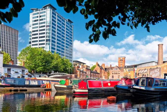 Gas Street Basin in the full sunshine.