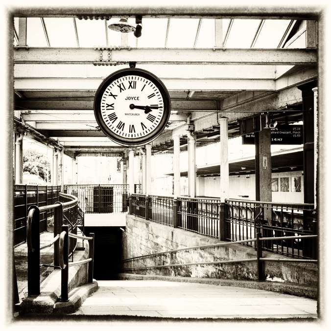 The famous clock used in the film, though their version had a cardboard face over it to keep filming continuity.