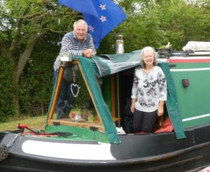 Barry and Sandra aboard NB Areandare June 2020