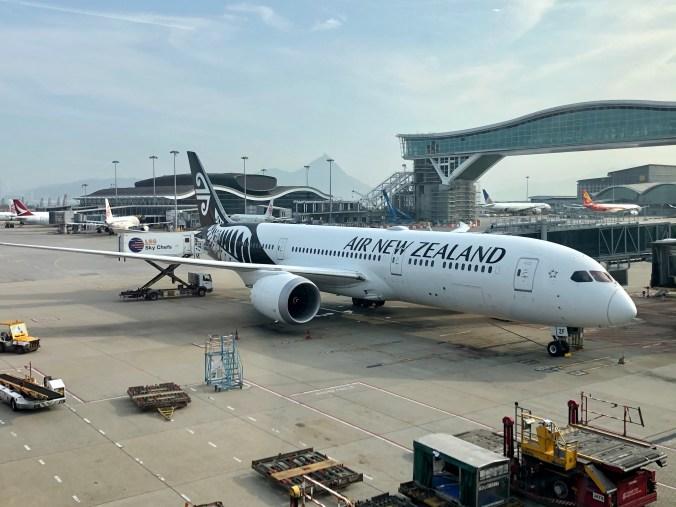 Air New Zealand plane at Hong Kong airport August 2020
