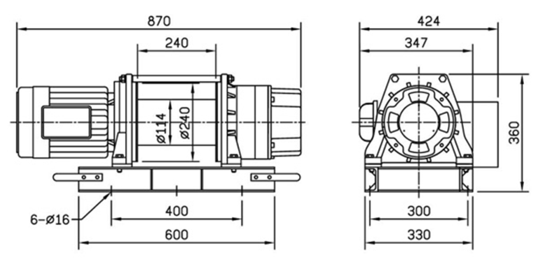 CP-750T 415V winch Spec Drawing