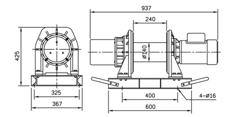 CWG10151 Electric Winch SPEC DRAWING