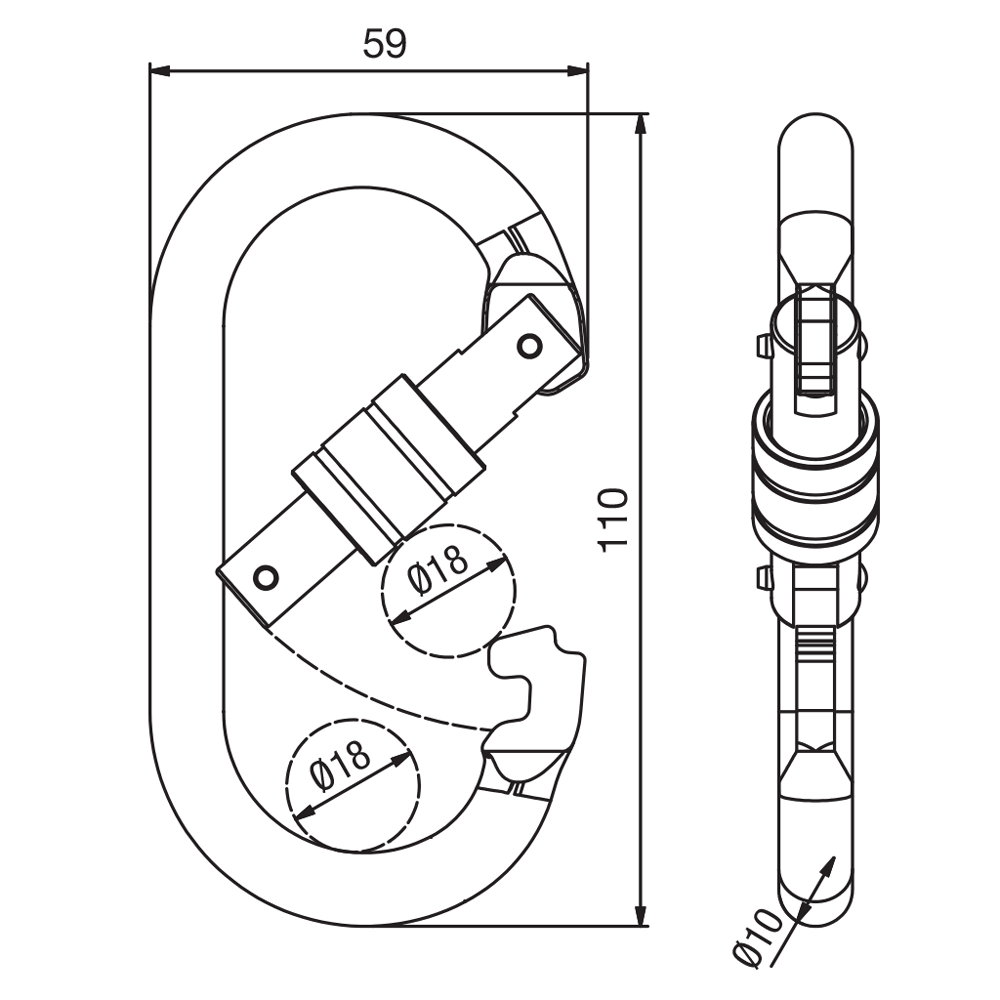 BSK0001 Screw Gate Oval Karabiner SPEC