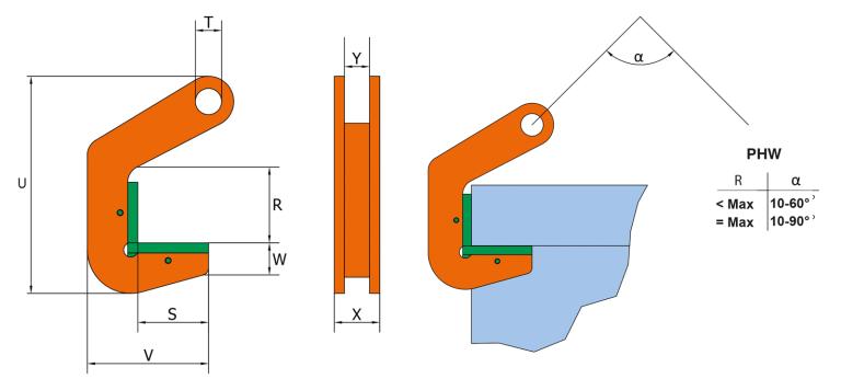 PEWAG PHW Pipe Hook Spec Diagram