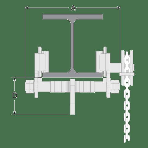 Geared Girder Trolley Spec Drawing End View