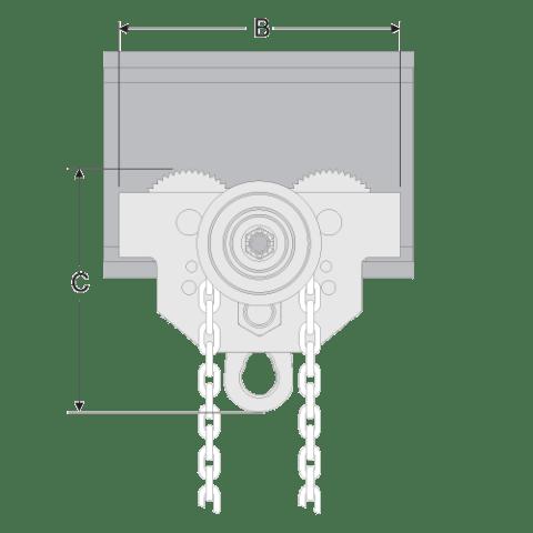 Geared Girder Trolley Spec Drawing Side View