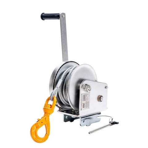 Stainless Steel Hand Brake Winch with Gal WIre & G80 Hook
