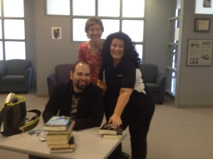 With some of the library staff.