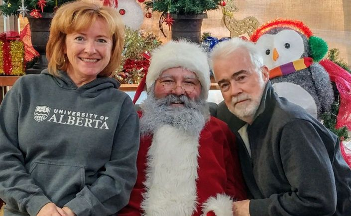Barry and Donna McGuire with Santa Claus.