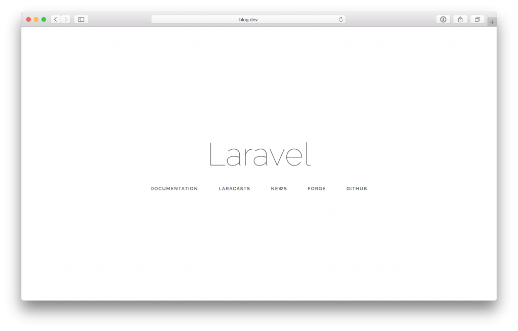 A blank Laravel app running in Safari