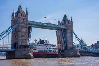 Tower Bridge opens for a passing boat